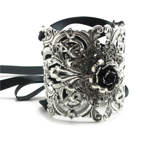 50% OFF BLACK FRIDAY Bohemian / Boho Gothic Lolita Bracelet - Ikebana Corset Cuff w/ Antiqued Sterling Silver Plated Filigree, Ribbon Ties