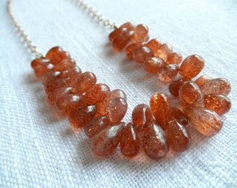 Sunstone necklace - gold necklace - orange necklace - V I D A 259