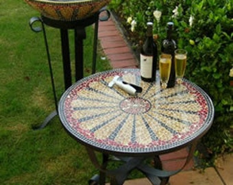 glass mosaic table browns and reds