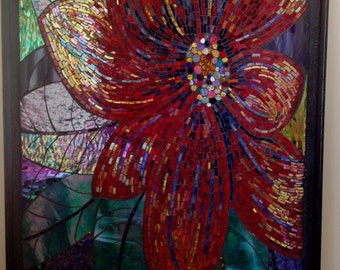 colourful mosaic flower of many slithers of glass, highly reflective wall mural