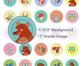 Woodland Critters Digital Collage Sheet - 1.313 Inch Circles for 1 Inch Buttons - Instant Download