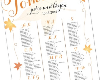 Fall Themed Seating Chart for Wedding or Event - Wedding Guest Seating Chart - Reception Seating Chart - Digital File