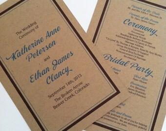 Kraft Wedding Programs - Double Sided, Simple, Elegant Rustic Wedding Programs - Flat Wedding Programs