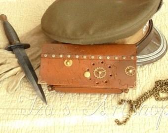 Steampunk Leather Belt Pouch