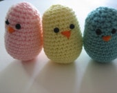 Crochet Baby Chick set of  3  - Turquoise,  Pink  and Yellow Baby showers and gifts - Valentine's Day