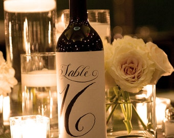 Table Number Labels for Wine Bottles, 1-12, Custom Calligraphy