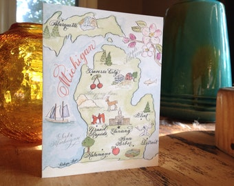 Watercolor Vintage Michigan Card Set (set of 4)