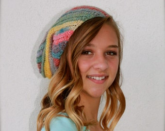 crochet slouchy beanie spiral ribbed hat cap colorful