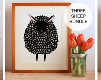 Brown, Black, and Gray Sheep Illustration Bundle, 11x14 Nursery Art, Children Decor