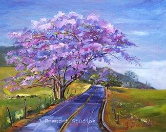 Fine Art Giclee Print of Original Oil Painting Landscape Trees Tropical Maui Purple Impressionist Fine Art