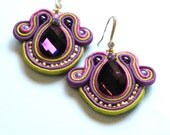 Soutache earrings purple lime and pink