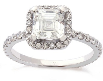 Asscher Cut Engagement Ring with Halo And Round Cut Side Diamonds A29
