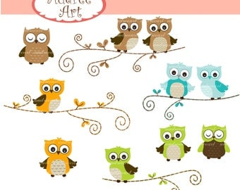 Owls clip art , cute owls on the branch,woodland clip art, brown Owls,blue green owls, baby owls , color owls, owl , instant download