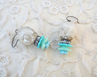 earrings dangling flowers old beads recycled petite shabby flea chic assemblage