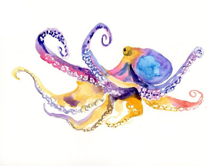 Octopus original watercolor painting 10x8inch for Colorful octopus painting