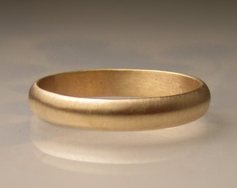 Women's Gold Wedding Band, 3mm recycled 14k Gold Ring, Made to Order