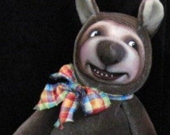 """Teddy Bear, Original OOAK Bear, """"Growly"""", painted face by NIADA artist Donna May Robinson"""