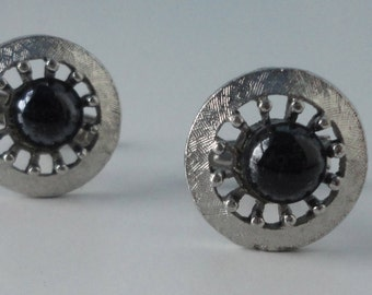 Vintage  Cuff Links in Silver tone metal and Black Cabochon.