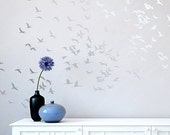 Flock Of Cranes Wall Stencil - Reusable stencils for DIY wall decor instead of wallpaper - Bird stencil for walls - Flying birds design