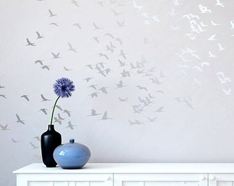 Flock Of Cranes Wall Stencil - Reusable stencils for DIY wall decor instead of wallpaper - Bird stencil for walls - Flying birds design