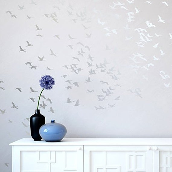 Wall Decor Bird Design : Flock of cranes wall stencil reusable stencils for diy