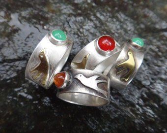Love Birds Ring with Stone of your Choice (Made to Order)