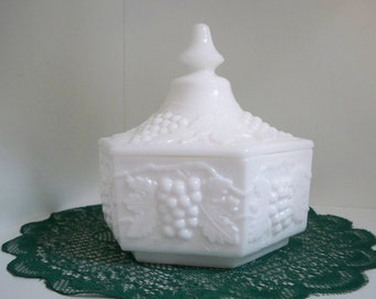 Vintage Home Decor Milk Glass Covered Bowl Milk Glass Collectible