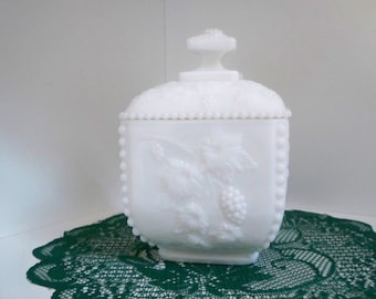 Vintage Home Decor Milk Glass Covered Bowl Milk Glass Candy Dish
