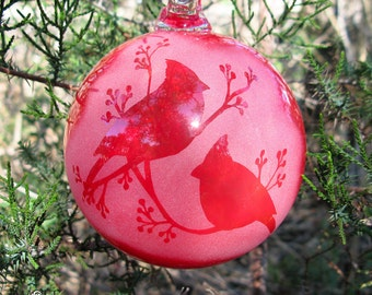 Blown Glass Christmas Ornament Bright Red Cardinals and Berries