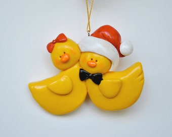 Personalized  Yellow Duckie Couple Christmas Ornament