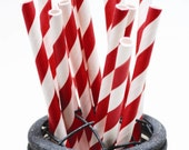 100 Ruby Red Paper Straws - Perfect for Parties - Favors--Free Editable DIY Tags PDF