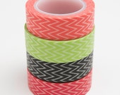 Washi Tape Set - 15mm - Small Chevron in Four Colors - Four Rolls Washi Tape 563, 679, 680, 691