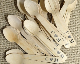 50 Disposable and Compostable Wooden Utensils - Monogram with Heart Design