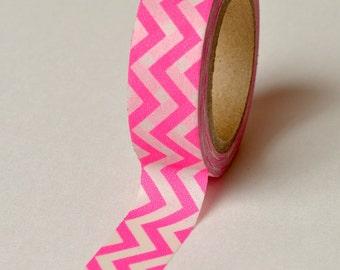 Washi Tape - 15mm - Neon Pink Chevron - Deco Paper Tape No. 771
