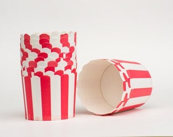 Red Stripe Nut or Portion Paper  Baking Cups with Scalloped Tops - set of 24