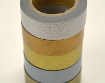 Washi Tape Set - 15mm - Metallic Combination - Silver Copper Gold Steel - Five Rolls Washi Tape # 14,16,17, 18,15