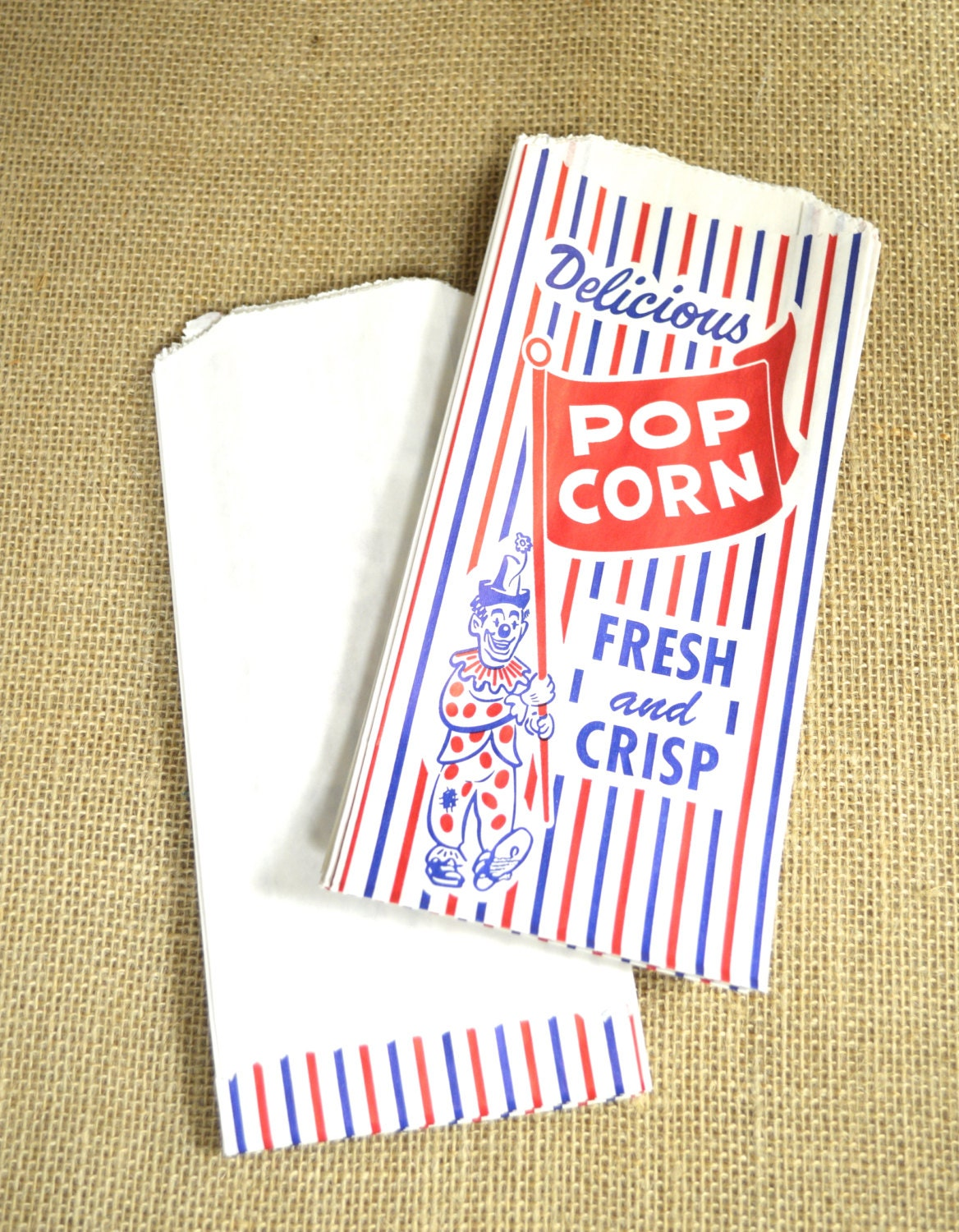 vintage style clown popcorn bags and white stripes