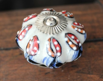 Drawer Knobs / Cabinet Pull Ceramic Pumpkin in White with Embossed Flower pattern LARGE (CK65)