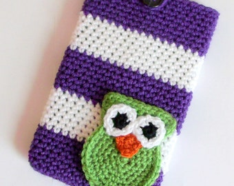 """Crochet Pattern PDF , Striped Owl 7"""" tablet cover, case, sleeve, Nook, Kindle, Android, Can sell items made, instant download, yarntwisted"""