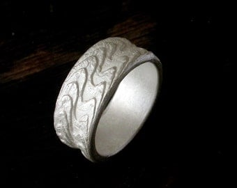 For Men Made In Your Size Sterling Silver Textured Ring Band Cast With Cuttlebone
