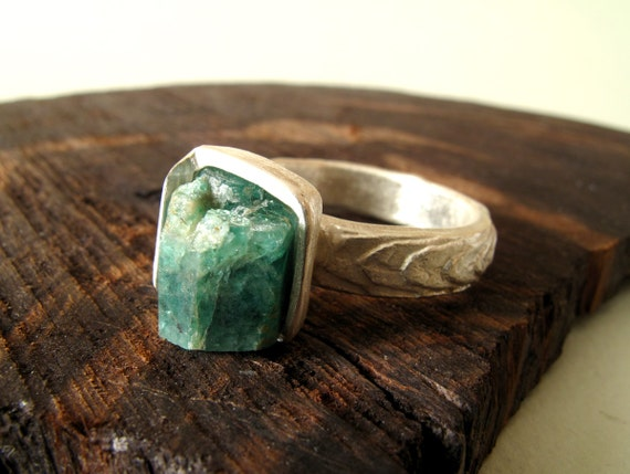 Emerald Ring Sterling Silver Ring With Natural Raw Emerald // Made In Your Size