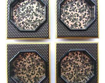 Vintage Japanese Door Pulls New Condition Black  And Gold  (A57) Set of 4
