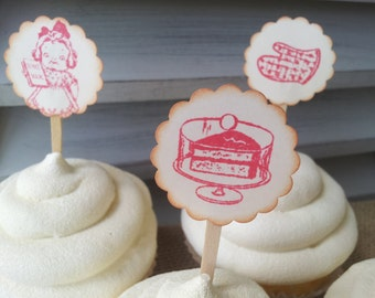 Cupcake Toppers Baking Little Chef Bakery Set of 12