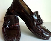 Vintage Brown Oxblood Tassel Loafers Mens Dress Shoes // Skinhead Mod Shoes // Size 10.5