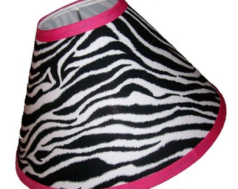 Zebra Print Lamp Shade 4 x 11 x 7 in your choice of trim color - Lampshade