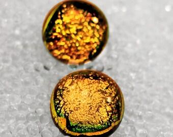Dichroic Fused Glass Post /Stud Earrings, Sparkling Warm Fall Pumpkin Golden Yellow Orange