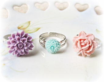 SALE Proljece Ring Set Bridesmaid Bridal Wedding Flower Cabochon Lilac Pink Pastel Aqua Purple Spring Vintage Style Jewellery