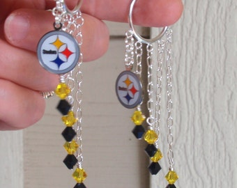 Pittsburgh Steelers Earrings, Black and Gold Crystal Long Earrings, Pro Football Accessory, Football Steelers Jewelry Bling