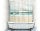 "Beach Fabric Shower Curtain ""Flight"" ocean,aqua home decor,teal,turquoise,pastel,nautical decor,seagulls,seashore,birds"