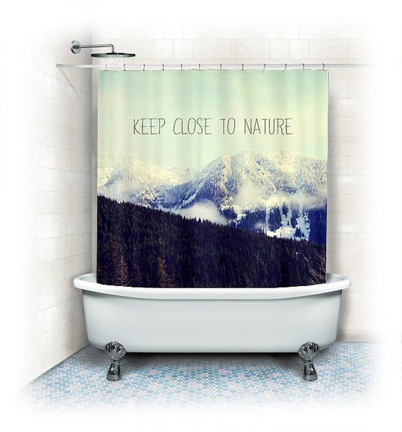Mountain Shower Curtainlandscape By Vintagechicimages On Etsy